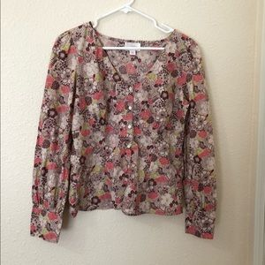 Womens Ann Taylor LOFT Vintage Long Sleeve Blouse